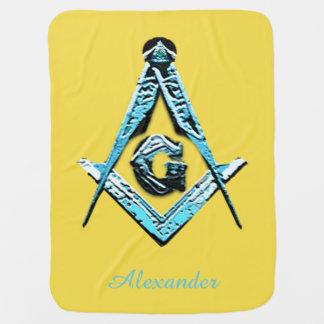 Masonic Minds (Bright Blue) Receiving Blanket