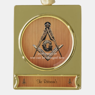 Masonic Minds (GoldenWooded) Gold Plated Banner Ornament