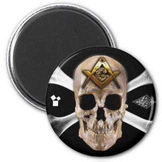 Masonic Skull & Bones Compass Square 6 Cm Round Magnet