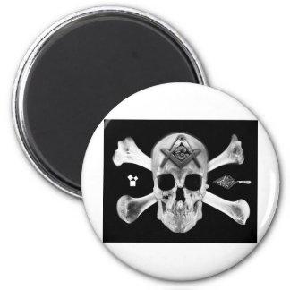 Masonic Skull & Bones, Square and Compass, Trowel, 6 Cm Round Magnet