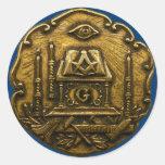 Masonic small ink round stickers