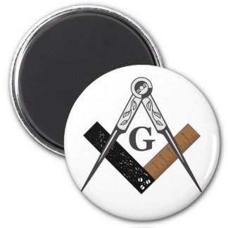 Masonic Square and Compass 6 Cm Round Magnet