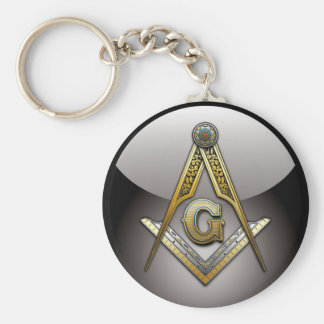 Masonic Square and Compasses Basic Round Button Key Ring