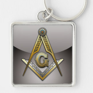 Masonic Square and Compasses Silver-Colored Square Key Ring