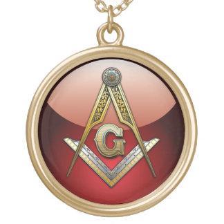 Masonic Square and Compasses Round Pendant Necklace