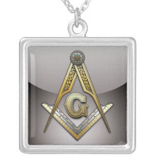 Masonic Square and Compasses Square Pendant Necklace