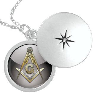 Masonic Square and Compasses Round Locket Necklace