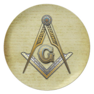 Masonic Square and Compasses Plate