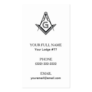 Masonic Square & Compass Business Cards, Freemason Pack Of Standard Business Cards