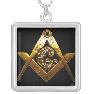 Masonic SQUARE on the SQUARE Square Pendant Necklace