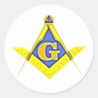 Masonic symbol round sticker