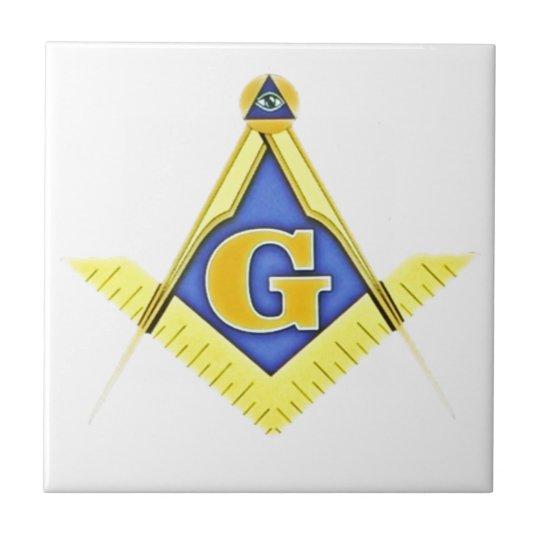 Masonic symbol small square tile