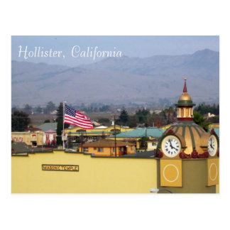 Masonic Temple Clock Tower in Hollister, CA Postcard