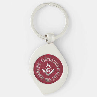 Masonic wax seal Silver-Colored swirl key ring