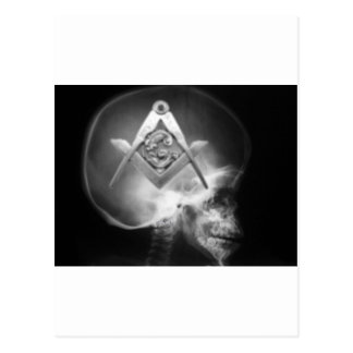 Masonic X-Ray Alien Skull Postcard