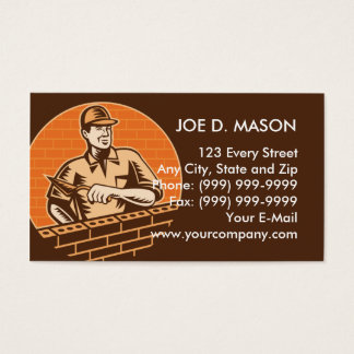 masonry brick worker or plasterer business card