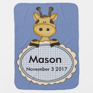 Mason's Personalized Giraffe Receiving Blankets