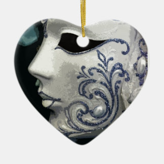 MASQUERADE 2 (blue) Ceramic Heart Decoration