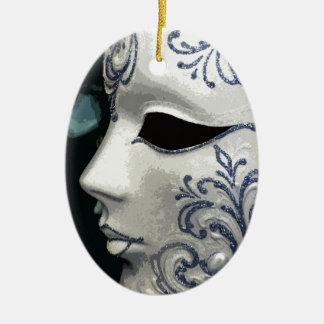 MASQUERADE 2 (blue) Ceramic Oval Decoration