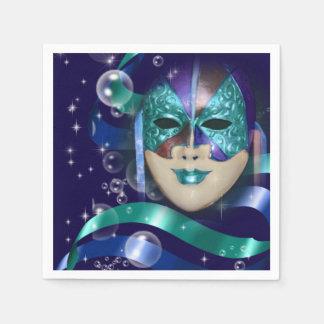 Masquerade aqua blue girls party disposable napkin