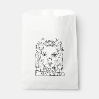 Masquerade Bacon Fairy Princess Line Art Design Favour Bags
