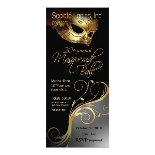 masquerade ball 1 party invitation card rack card template zazzle. Black Bedroom Furniture Sets. Home Design Ideas