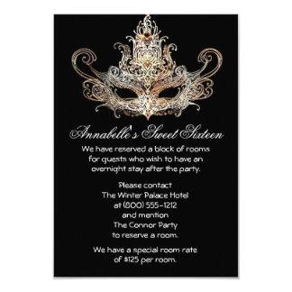 Masquerade Ball Hotel Accommodations Cards 9 Cm X 13 Cm Invitation Card
