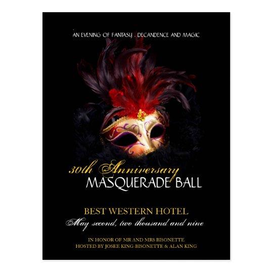 Masquerade Ball Invitation Postcard