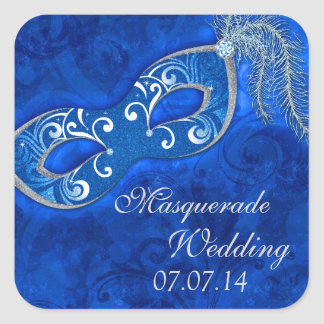 Masquerade Ball Mardi Gras Blue Wedding Square Sticker