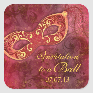 Masquerade Ball Mardi Gras Party Envelope Seal Square Sticker