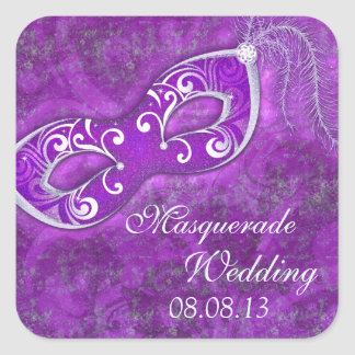 Masquerade Ball Mardi Gras Wedding Envelope Seal Square Sticker