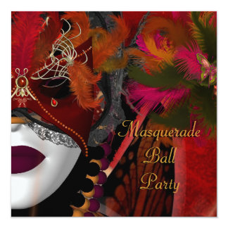 Masquerade Ball Party Mask Black Red 13 Cm X 13 Cm Square Invitation Card