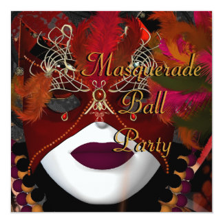Masquerade Ball Party Mask Black Red 2 13 Cm X 13 Cm Square Invitation Card