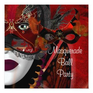 Masquerade Ball Party Mask Black Red Girl 2 13 Cm X 13 Cm Square Invitation Card