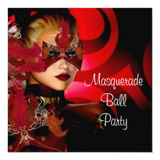 "Masquerade Ball Party Mask Black Red Girl 2 5.25"" Square Invitation Card"