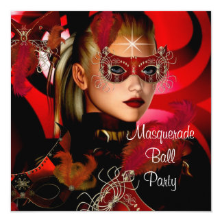 "Masquerade Ball Party Mask Black Red Girl 3 5.25"" Square Invitation Card"