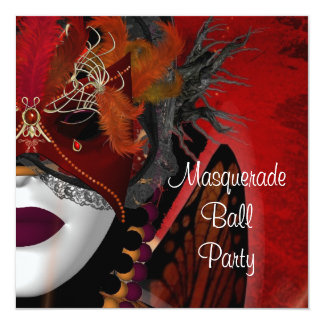 Masquerade Ball Party Mask Black Red Girl 3 5.25x5.25 Square Paper Invitation Card