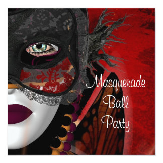 "Masquerade Ball Party Mask Black Red Girl 5.25"" Square Invitation Card"