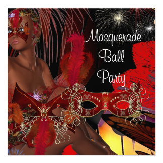 Masquerade Ball Party Mask Black Red Showgirl 2 Custom Invitation