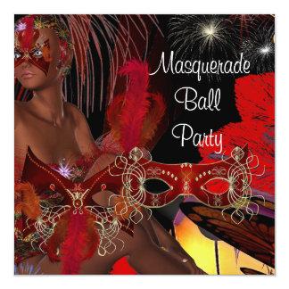 Masquerade Ball Party Mask Black Red Showgirl 2 5.25x5.25 Square Paper Invitation Card