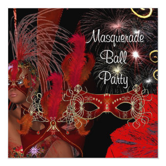 Masquerade Ball Party Mask Black Red Showgirl 3 13 Cm X 13 Cm Square Invitation Card
