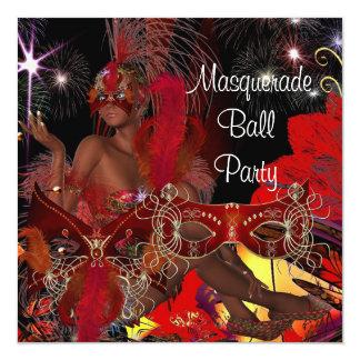Masquerade Ball Party Mask Black Red Showgirl 5.25x5.25 Square Paper Invitation Card