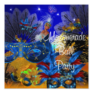 "Masquerade Ball Party Mask Blue Yellow ShowGirl 5.25"" Square Invitation Card"