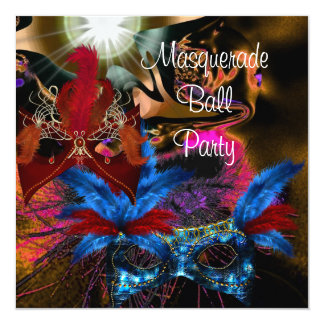 Masquerade Ball Party Mask Colorful Abstract 2 13 Cm X 13 Cm Square Invitation Card