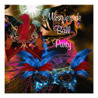 Masquerade Ball Party Mask Colorful Abstract 2 Personalized Announcements