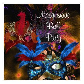 Masquerade Ball Party Mask Colorful Abstract Custom Invitations