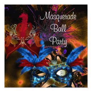 "Masquerade Ball Party Mask Colorful Abstract 5.25"" Square Invitation Card"