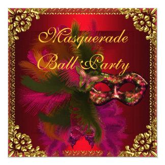 Masquerade Ball Party Masks Gold Deep Red Card
