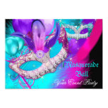 Masquerade Ball Party Masks Purple Teal Blue Pink 13 Cm X 18 Cm Invitation Card