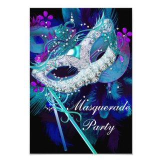 Masquerade Ball Party Teal Blue Black Masks 9 Cm X 13 Cm Invitation Card
